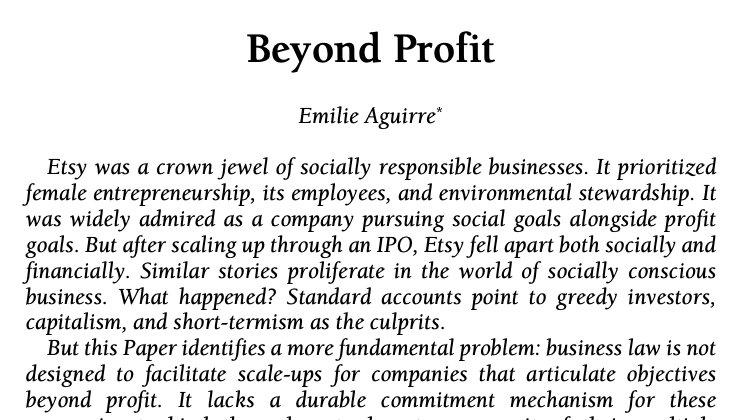 """How do you facilitate a scale-up for companies that articulate an objective beyond profit? @ekaguirre of @UChicagoLaw has an idea. Find out in her article """"Beyond Profit"""" here: https://t.co/T9IVuTucN4 https://t.co/lG1YseZOs6"""