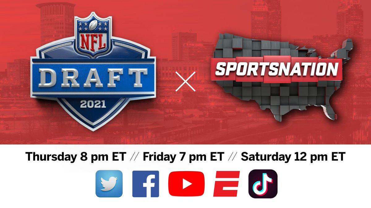 ESPN presents #NFLDraft coverage across digital & social platforms  @SportsNation   Thursday-Saturday   Streaming live ESPN App, Twitter, Facebook, YouTube & TikTok https://t.co/OKkav4hGb9