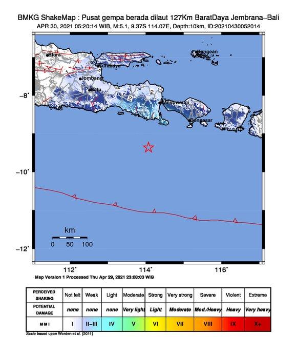 Pusat gempa Mag 5.1 mengguncang wilayah Bali Jumat (30/4/2021) pukul 05.20 WIB