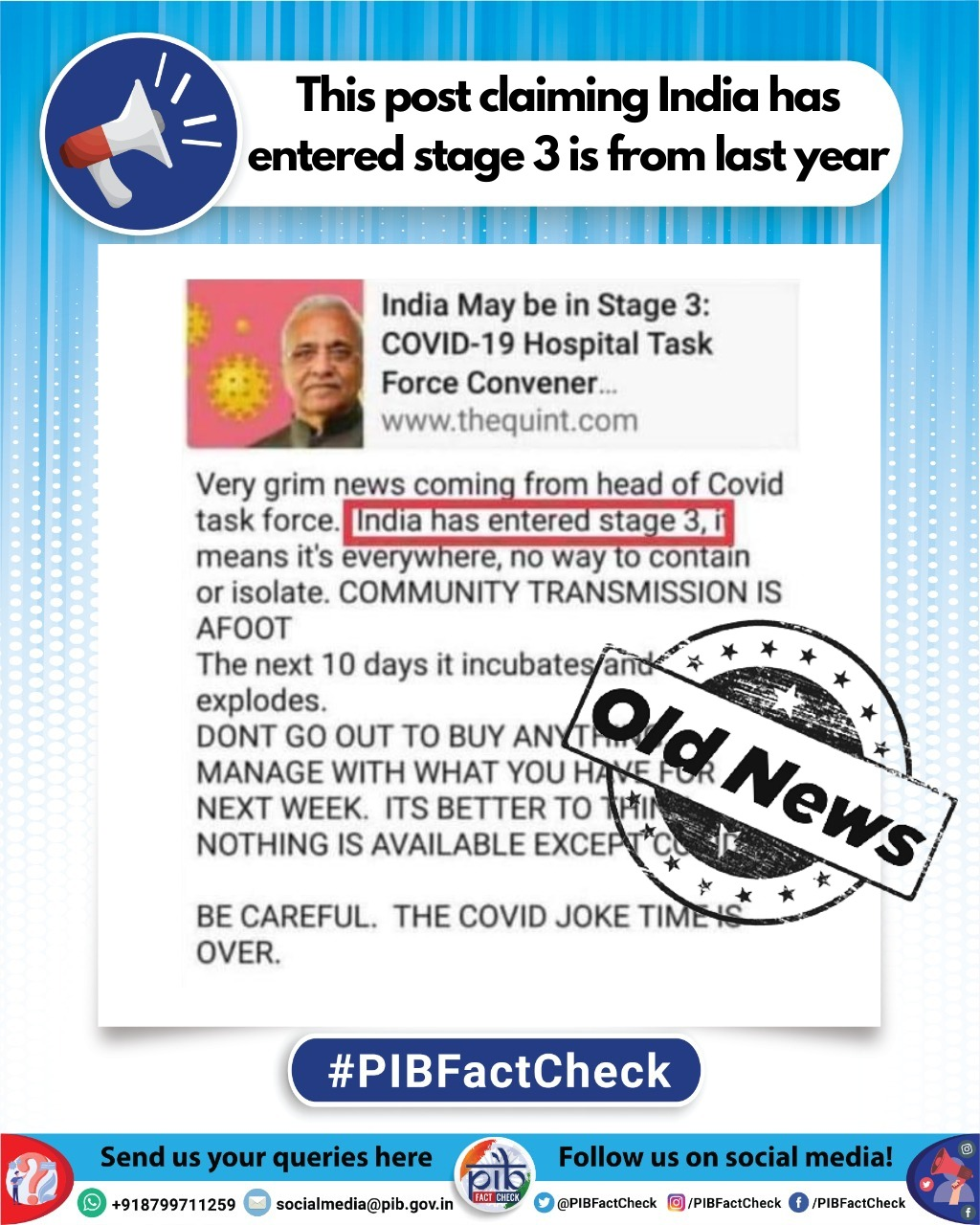 A stamp reading Old News on a post claiming India has entered the community transmission stage