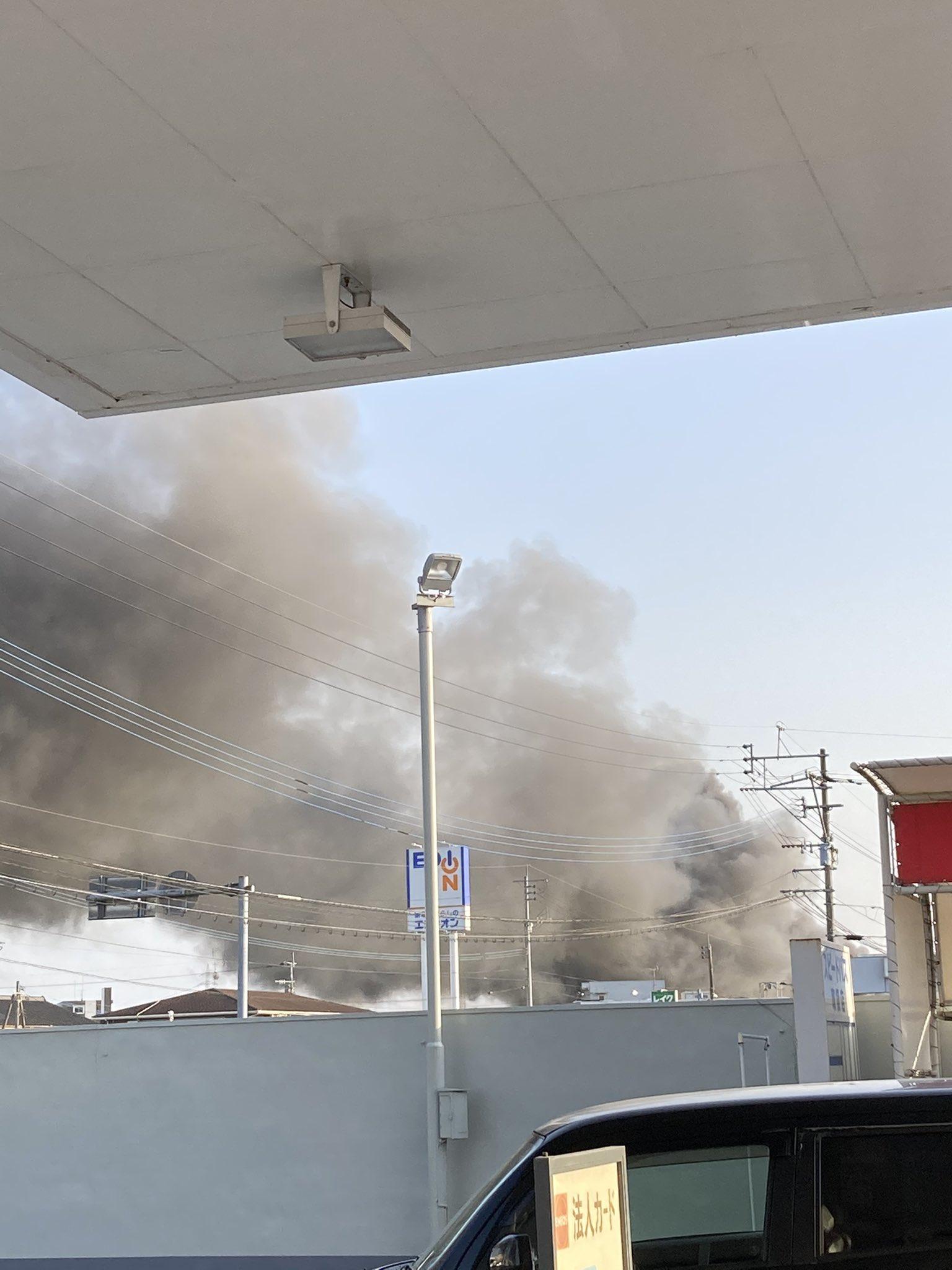 都城市で大きな火事が起きている現場の画像
