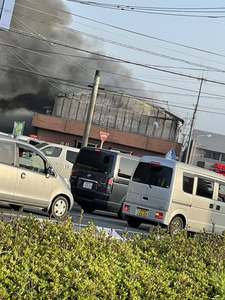 都城市吉尾町オートピア21付近で火災が起きている画像