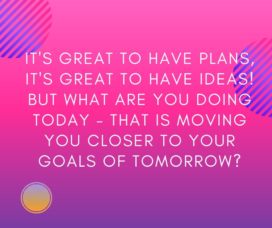 It's great to have plans, it's great to have ideas! But what are you doing today - that is moving you closer to your goals of tomorrow?  Let me know!  #tomorrow #goals #today #begreat #dream #buildyourdream #build #success #business https://t.co/FV2QzgRuMj