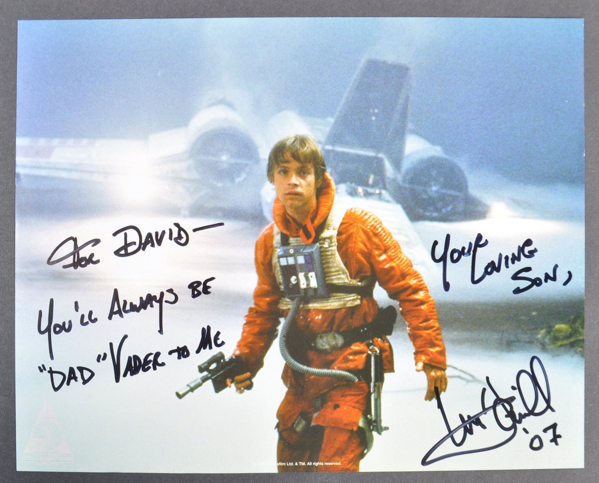 """""""You'll always be 'Dad' Vader to me"""" - @HamillHimself aka Luke Skywalker  Over 400 signed photographs belonging to the late David Prowse are being auctioned with a % of profits to support vital dementia research.  View this iconic item & many more 👇https://t.co/uQmR6KPQyy https://t.co/FWFsQRcsGp"""