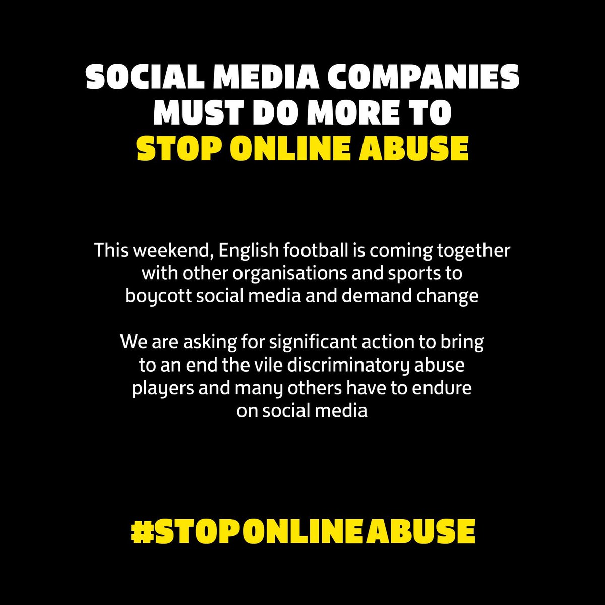 I am boycotting social media until Monday in solidarity with black footballers, and all others who receive racist abuse.   On May Day, unite to oppose all forms of racism. https://t.co/31QGCtUFtq