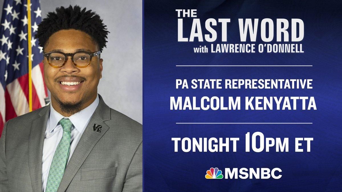 TONIGHT: Pennsylvania State Rep. @malcolmkenyatta joins @AliVelshi on the #LastWord. Tune in! https://t.co/C5ohBBQgjE