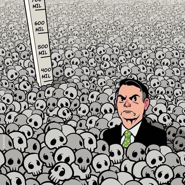 A lista é longa, e, certamente, Bolsonaro será retratado na história como o responsável por um grande genocídio. São 400 mil vidas perdidas, e ninguém pode reverter esse número, ninguém pode reparar essa dor. É o Brasil da tragédia. #ImpeachmentJá  Arte: Cristiano Siqueira https://t.co/X2yxMKo6ev