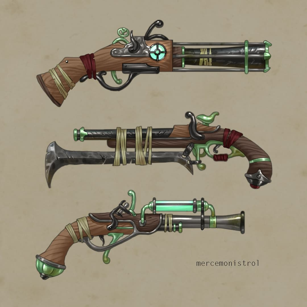 #instagramposts from my pirate project! This is the first part of a looooong list of props I made this week🕺 _ _ #artist #illustration #digitalart #drawing #conceptart #weapons #Pirates #steampunk #gameart