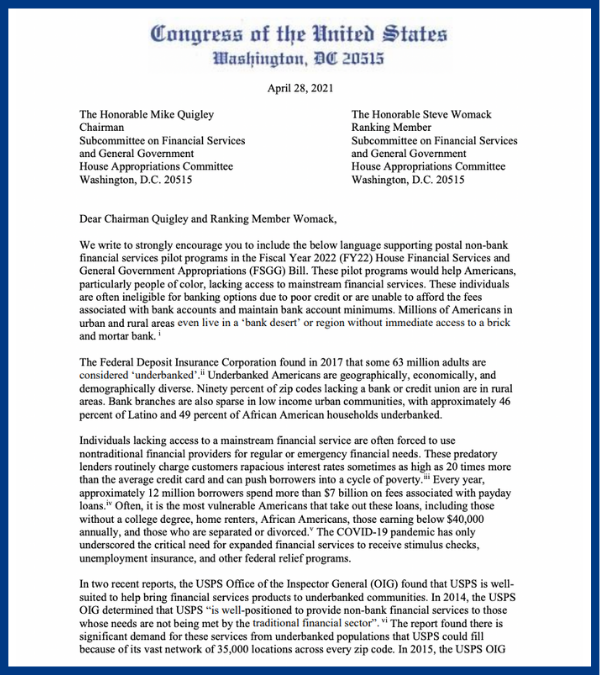 63M don't have access to basic banking, like check cashing w/o fees.  There's a solution - one that would also send funding to @USPS.  Post offices already exist in underbanked areas & could begin providing basic services via our pilot program with @BillPascrell & @RepMarcyKaptur https://t.co/nOU4dsFcfO