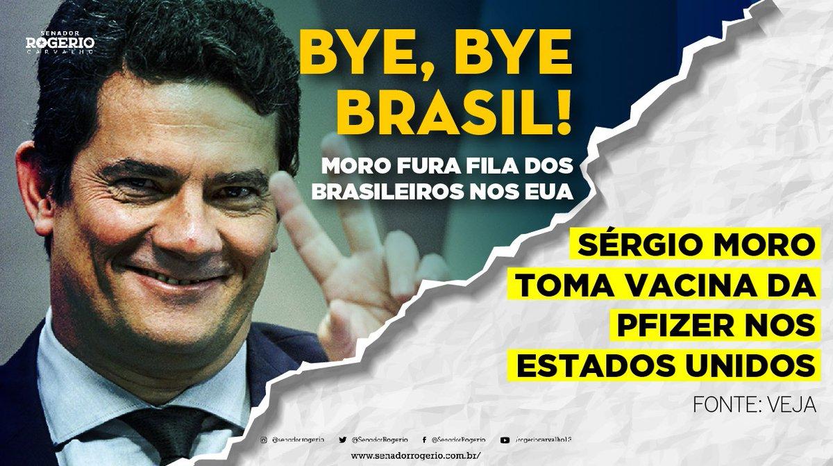 Tirou @LulaOficial das eleições 2018, ajudou a eleger um governo da morte e vai para os Estado Unidos se vacinar, burlando a fila de vacina brasileira. Esse é o Sérgio Moro! https://t.co/fnduIcDFV2