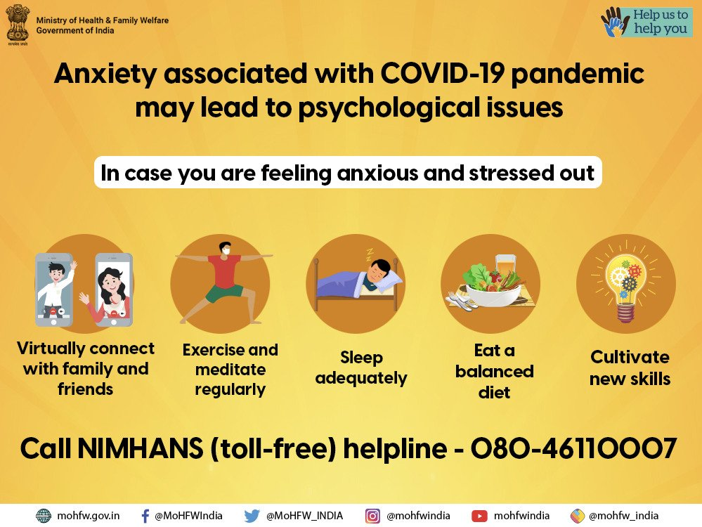 #IndiaFightsCorona Maintain a good work-life balance. For psychosocial support call NIMHANS's (toll free) helpline 080-46110007.    #Unite2FightCorona  #HealthForAll #StaySafe