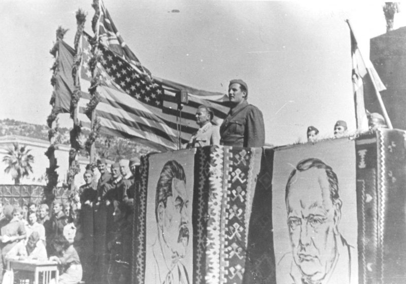 test Twitter Media - A Yugoslav Partisan celebration featuring Josip Broz Tito with the flags of all of Yugoslavia's allies: the USA, the USSR, and the UK; as well as portraits of allied leaders Roosevelt (out of frame), Stalin, and Churchill. Vis, Croatia,  1944 https://t.co/xBMuXF4Afz