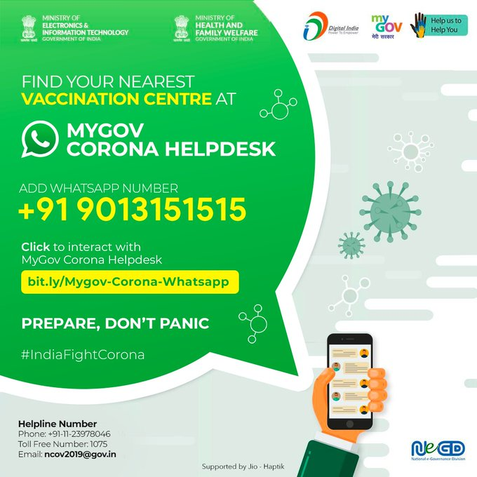How to find Nearest Covid Vaccination centre using WhatsApp