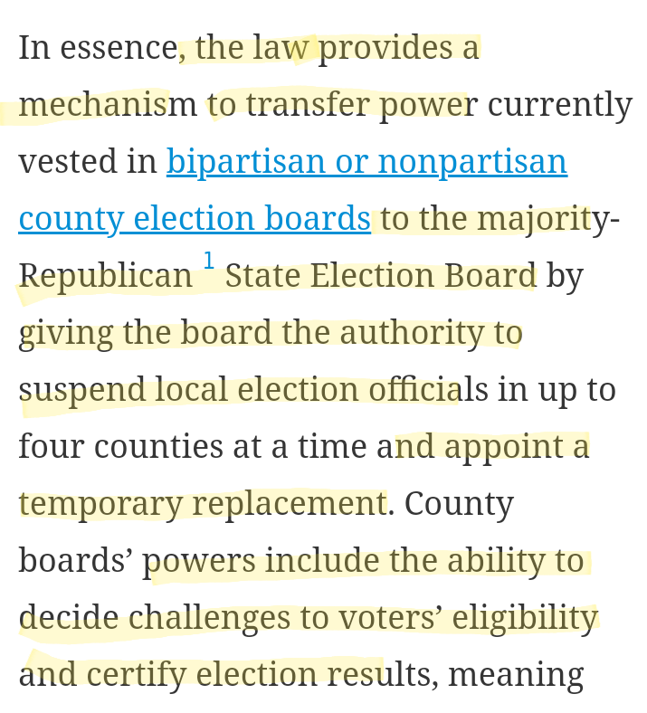 """Here's more on Georgia's law, SB02.  """"A [Republican] election czar could theoretically invalidate a fair election by refusing to certify [...] and throwing out thousands of supposedly questionable votes"""" https://t.co/91pcoMXZmx"""