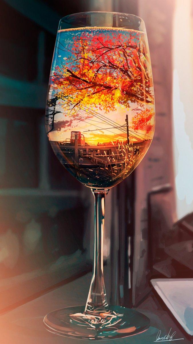 「季節」をテーマにして描いた カクテルのイラストです
