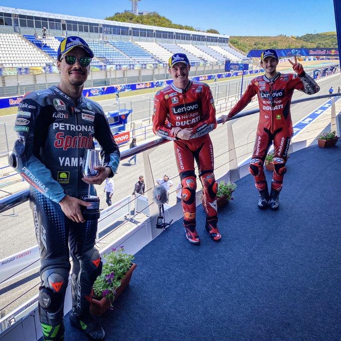 Peraih podium MotoGP Spanyol Jack Miller ( tengah/Ducati ), Francesco Bagnaia (kanan/ Ducati ), Franco Morbidelli ( Petronas Yamaha SRT/kiri )
