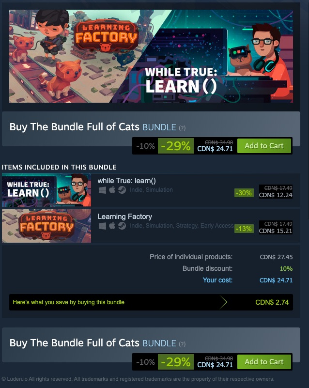 The Bundle Full of Cats is $24.71 on Steam