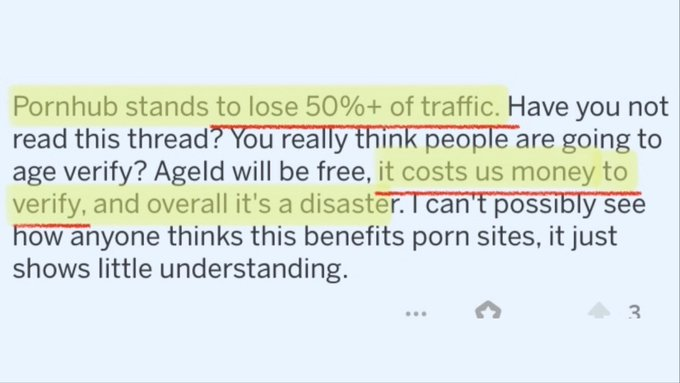 Don't EVER forget that Pornhub's Senior Manager was caught saying the reason they would not verify age