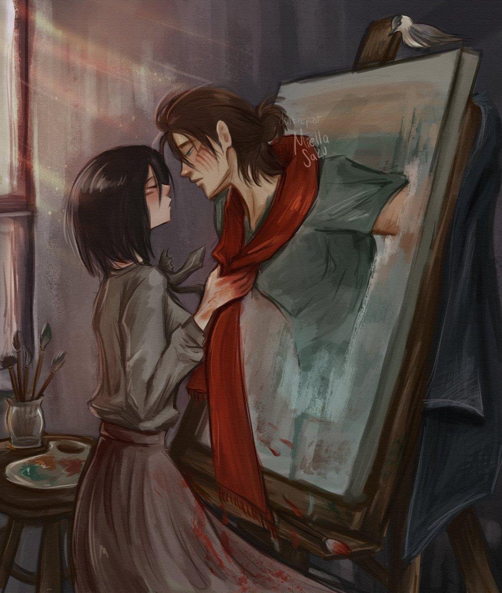 painting  #eremika #ErenJaeger #MikasaAckerman #エレミカ