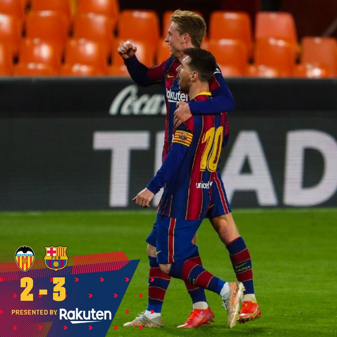 Skor akhir Valencia 2-3 Barcelona