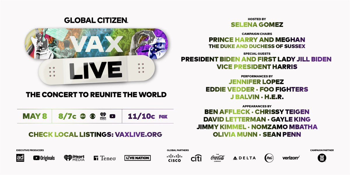 We're so excited that #VaxLive is filming TONIGHT! The show airs Saturday, May 8 at 8/7C, so put @JLo, @foofighters, @PearlJam's Eddie Vedder, @JBALVIN, and @HERMusicx on repeat this week and tune in to watch them all perform! Check local listings: