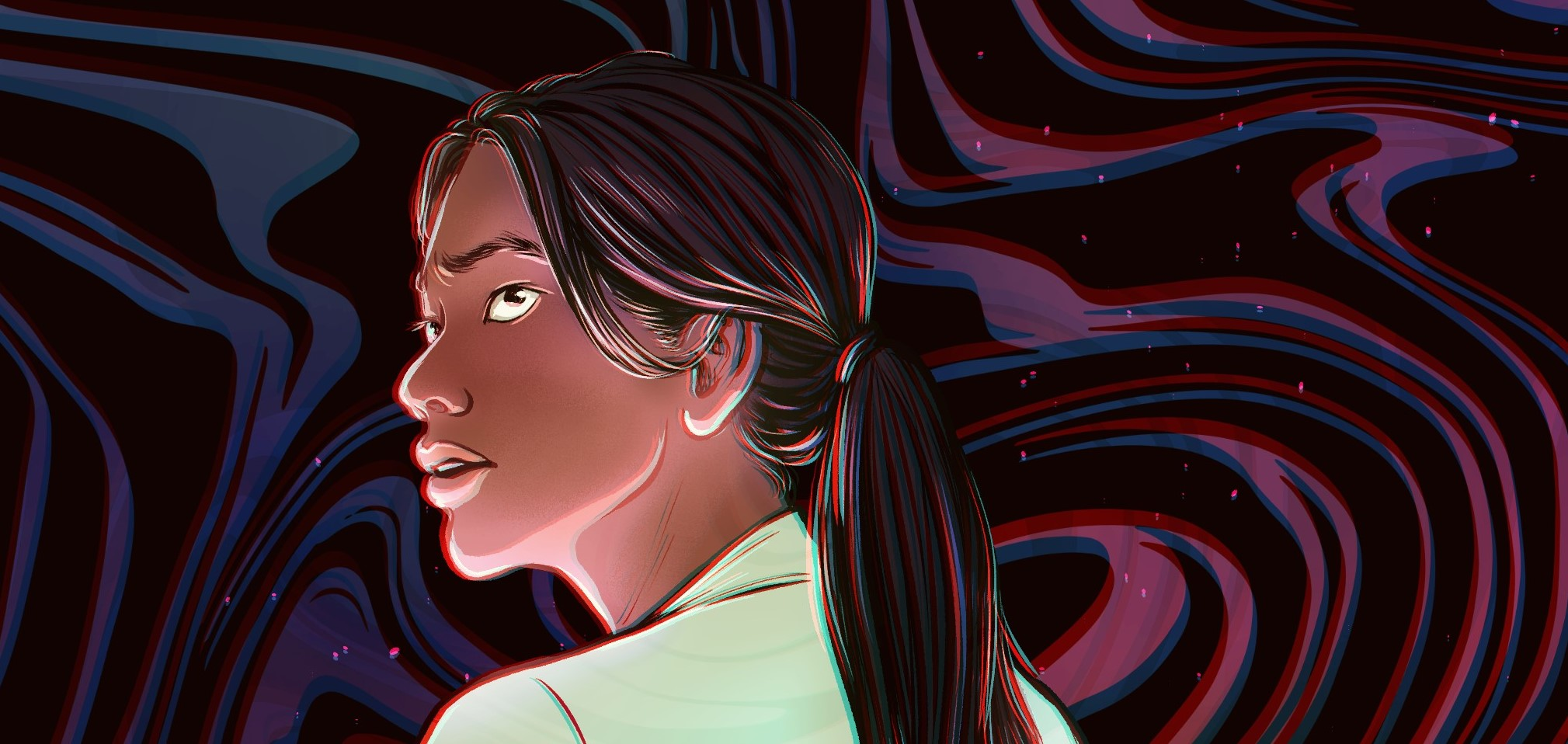 Close up of the previous illustration, on Yasira's face: looking back and up over her shoulder, concerned, and lit from below.
