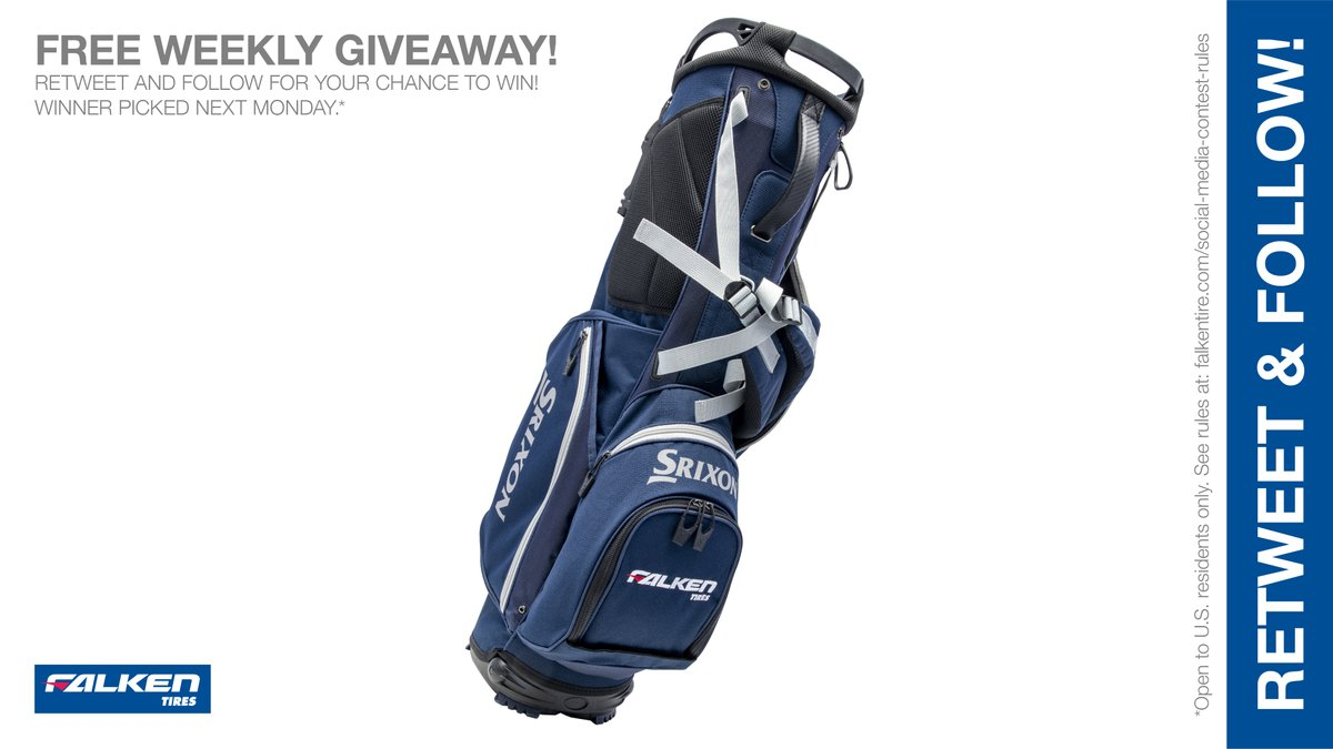Your chance to get a #FalkenTire @SrixonGolf bag. RT & follow #FalkenTire to enter to #win this weekly #giveaway #contest #prize or other #swag! Rules: https://t.co/hZgWAdAaQW Day 1 https://t.co/W43X9Iv7zB
