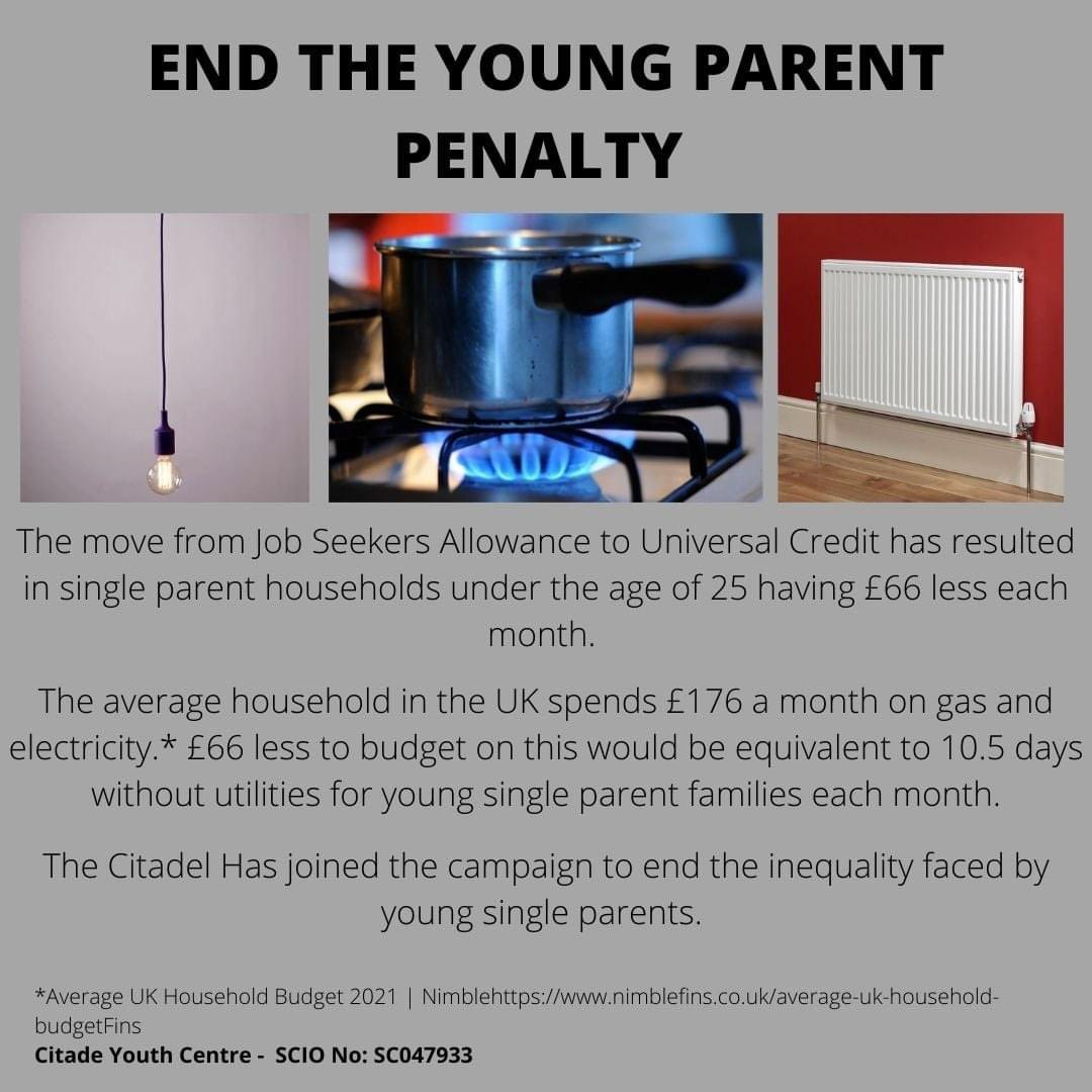 Thanks to @CitadelYCLeith for this useful breakdown of the real life impact £66 less per month can make to young single parent families - this could amount to 10.5 days without utilities. 🔥💡  That's why we and 50 partners are saying it's time to #EndTheYoungParentPenalty.