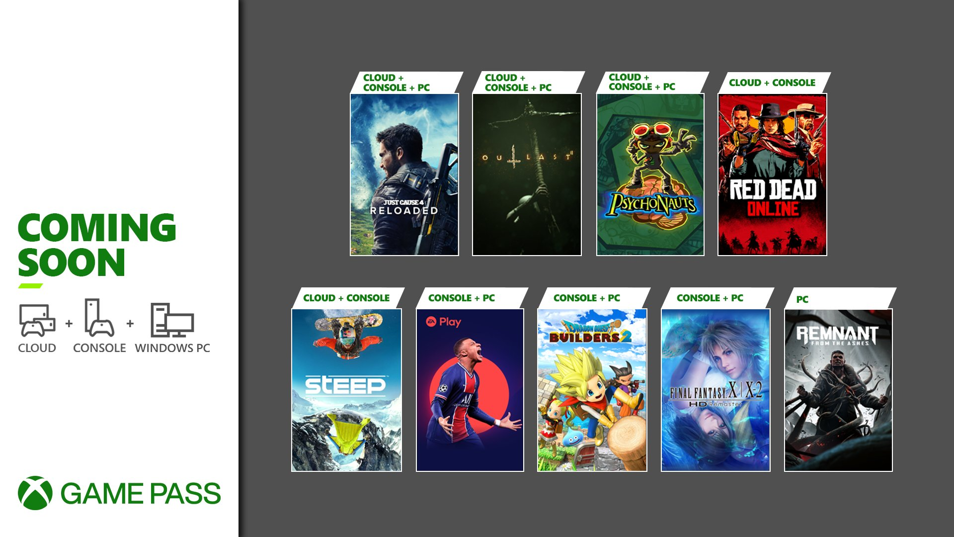 Just Cause 4: Reloaded, Outlast 2, Psychonauts, Red Dead Online, Steep, FIFA 21 (EA Play), Dragon Quest Builders 2, Final Fantasy X/X-2, and Remnant: From the Ashes are coming soon to Xbox Game Pass for PC.