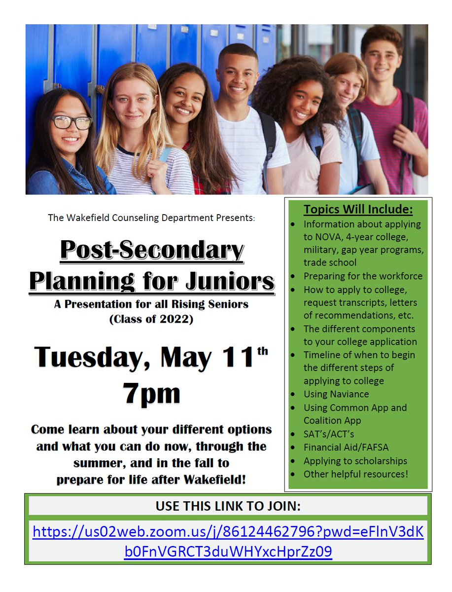 We invite 11th graders and Parents of 11th graders next Tuesday for a conversation about Post-Secondary planning.  <a target='_blank' href='https://t.co/GCmoGscnY6'>https://t.co/GCmoGscnY6</a> <a target='_blank' href='https://t.co/mpylkg5MUZ'>https://t.co/mpylkg5MUZ</a>