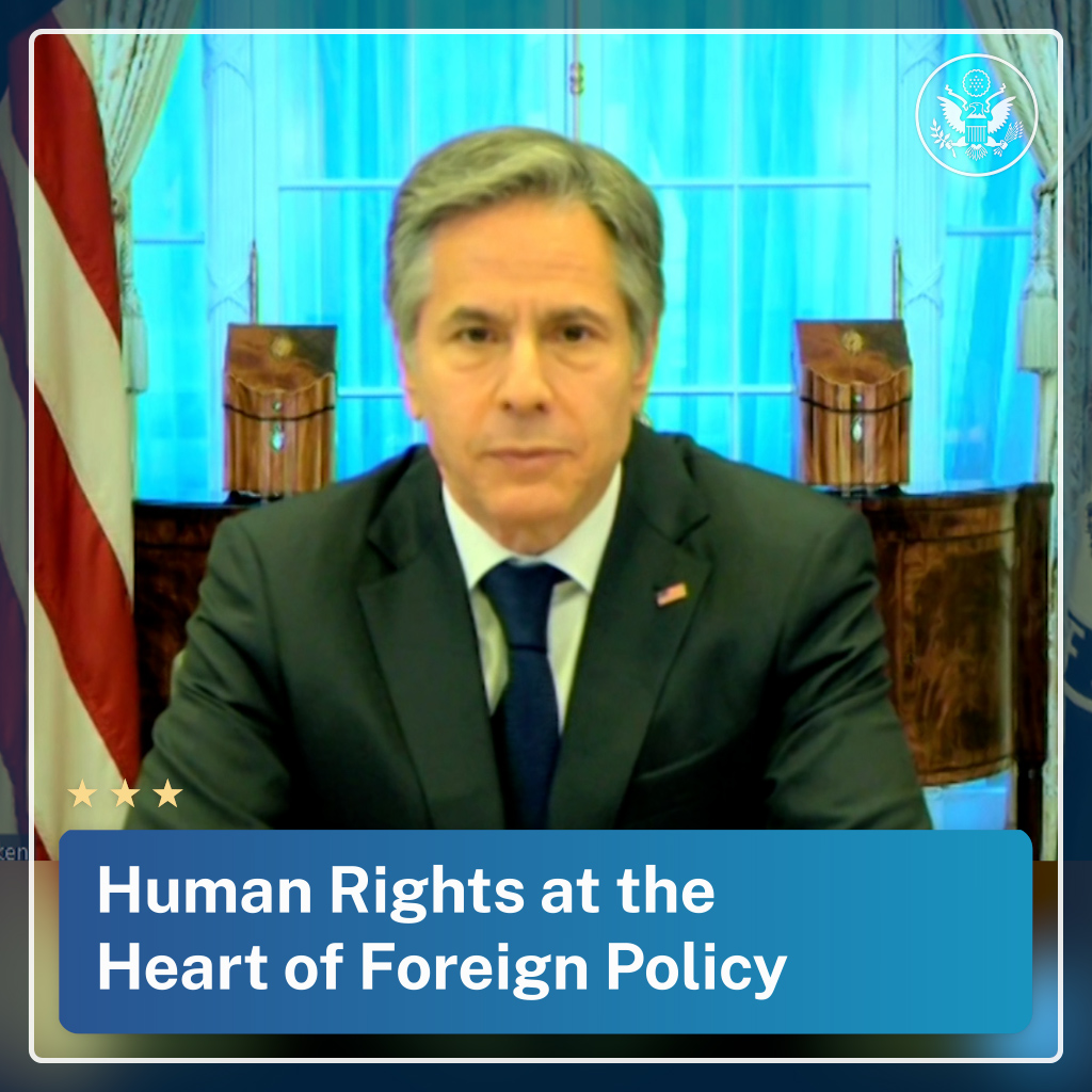 .@SecBlinken: The Biden-Harris Administration is committed to putting human rights back at the heart of our foreign policy. People everywhere should be free to express their beliefs, hold opinions without interference, to seek, receive, and share information and ideas. https://t.co/kVjegEawyi