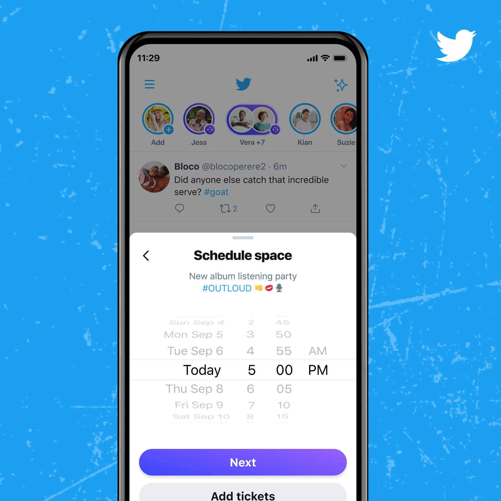 """an image mockup of a Twitter account scheduling a """"new album listening party #OUTLOUD"""" with the ability to set the time."""