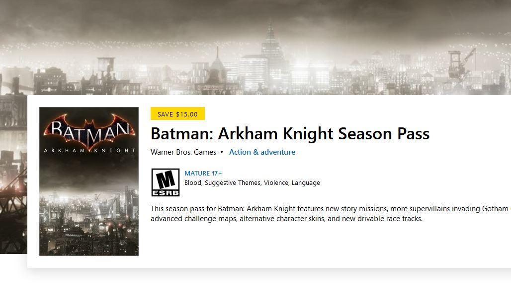 Batman: Arkham Knight Season Pass (X1) $4.99 via Xbox.