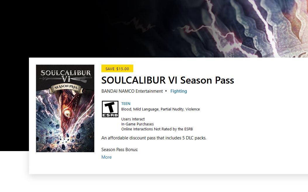 SOULCALIBUR VI Season Pass (X1) $14.99 via Xbox. https://t.co/4MGxoPpa4k