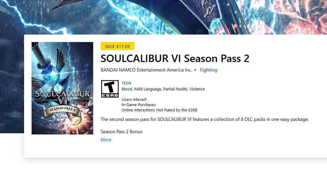 SOULCALIBUR VI Season Pass 2 (X1) $16.99 via Xbox.