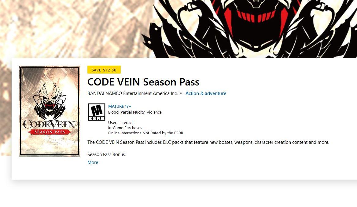 CODE VEIN Season Pass (X1) $12.49 via Xbox.