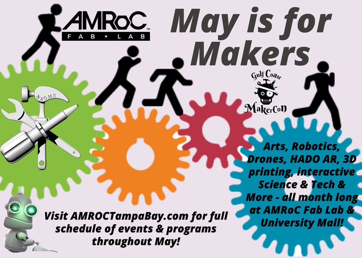 We're bringing @GCMakerCon and @AMROCFabLab together for a taste of Makercon, a month long celebration of the inventive spirit throughout May!