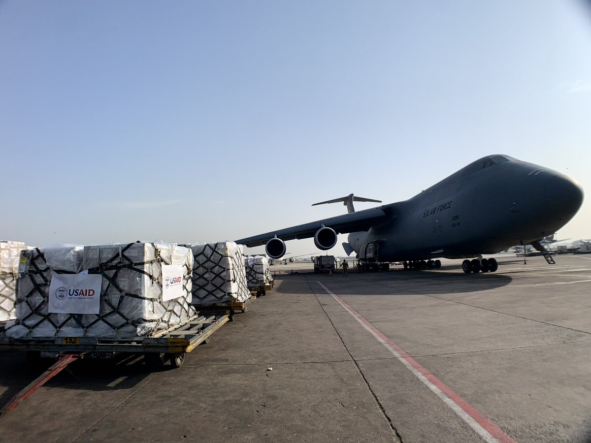 @USAID's 5th emergency shipment in 5 days has landed in India! Carrying 500+ oxygen concentrators to help hospitals create oxygen from air & 100,000+ N95 masks to keep frontline workers safe. Thank you @AirMobilityCmd 433 AW for delivering! #USIndiaDosti https://t.co/NCbwMJeU94