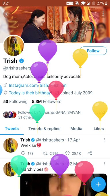 , Happy Birthday Trisha Krishnan. Lots of Love