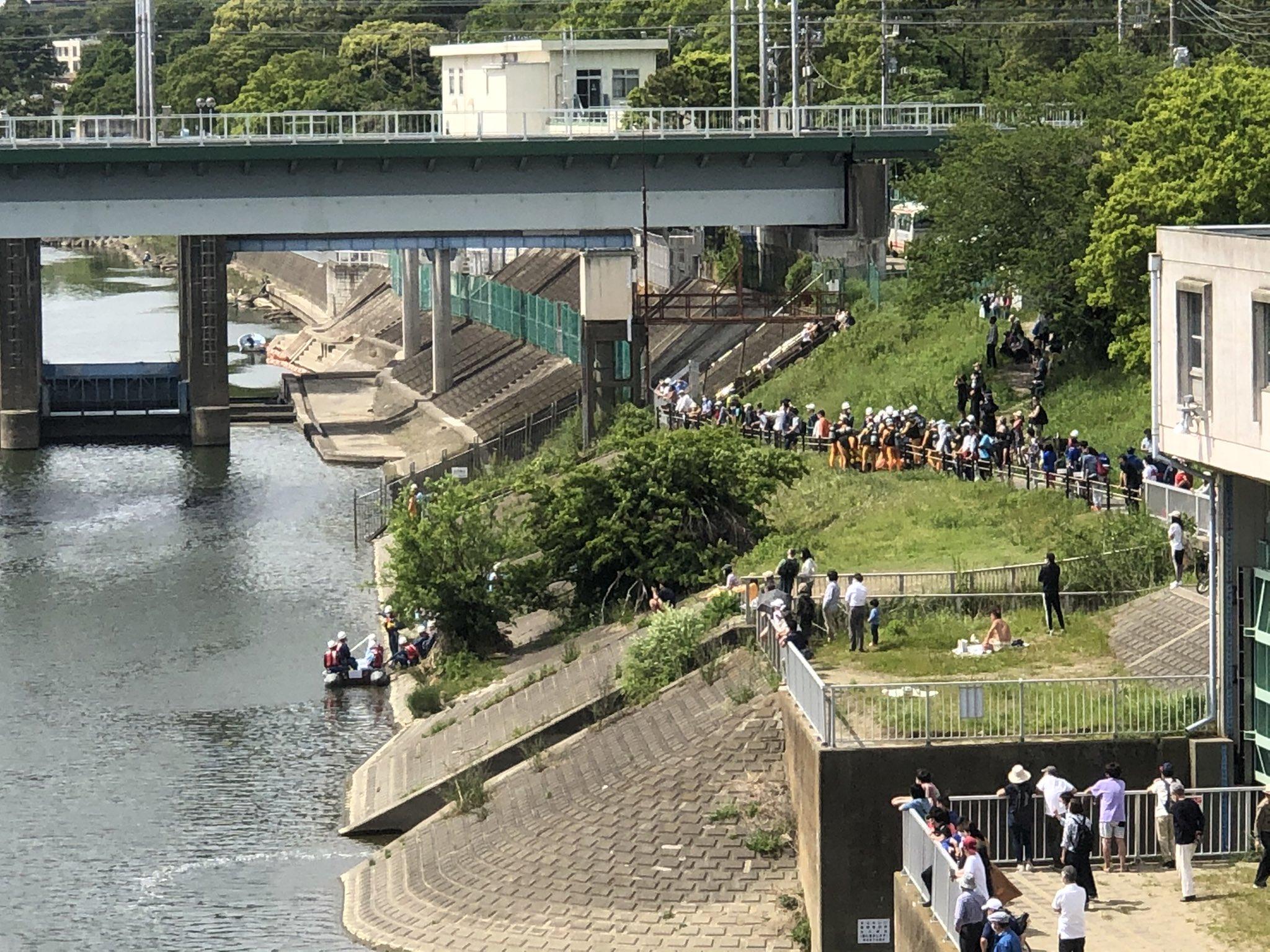 多摩川 丸子橋広場前の水難事故の現場画像