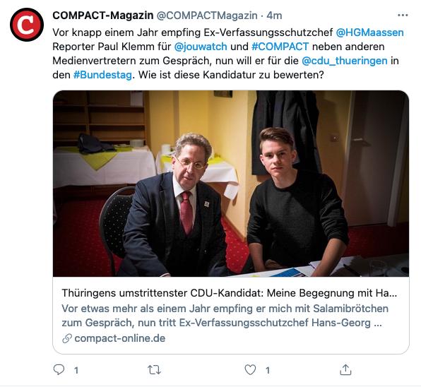 Hier ein Foto als #Maaßen die Beobachtung des rechtsextremen Magazins #Compact noch persönlich übernommen hat.  Scherz. Es ist das Foto eines rechtsextremen #CDU-Direktkandidaten, der sich von einem Rechtsextremen für zwei rechtsextreme Medien interviewen lässt.  Glück auf Armin! https://t.co/rt5iKTsr0b