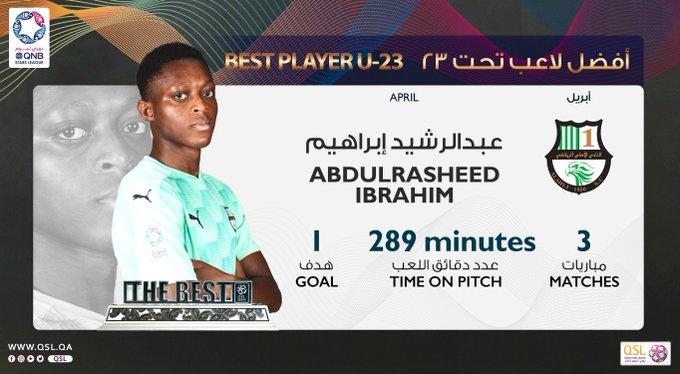 مؤسسة دوري نجوم قطر عبدالرشيد إبراهيم لاعب النادي  الأهلي أفضل لاعب تحت ٢٣ عاماً عن شهر أبريل ٢٠٢١