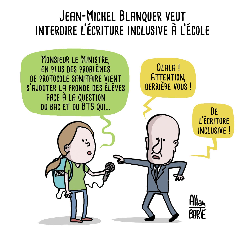 """Allan BARTE on Twitter: """"Jean-Michel Blanquer veut interdire l'écriture  inclusive à l'école. #ecritureinclusive Pour précommander mon prochain  livre """"Vivre en Macronie"""", tome 4 : ▶️ https://t.co/vSwquthjze 📖📚😘 # Blanquer #BAC #baccalaureat #BacNoir ..."""