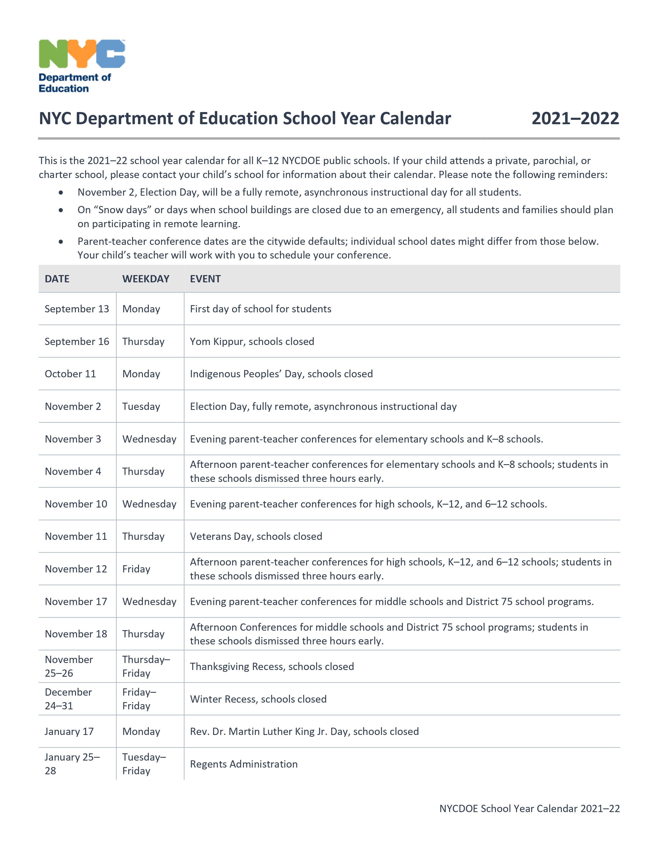 Doe District 21 On Twitter 2021 2022 Nyc Doe School Calendar Https T Co R3unsds740 Twitter