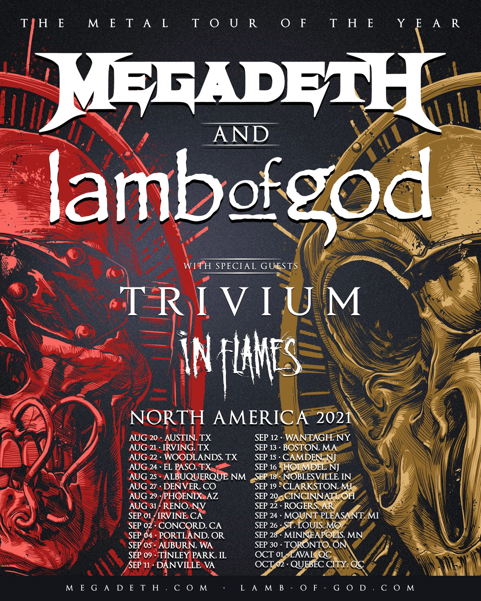 MEGADETH, LAMB OF GOD, TRIVIUM + IN FLAMES: Rescheduled Dates For The Metal Tour Of The Year Announced Photo