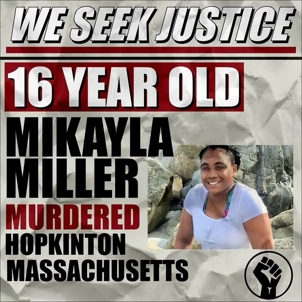 #JusticeForMikaylaMiller  This is Mikala Miller, a 16 year old honor  student from Hopkinson, MA. She was found dead, tied to a tree, with a belt around her neck.  Mikayla was a promising African American honors student-athlete at Hopkinton High School. … https://t.co/rXXGccRuKH https://t.co/Di2pBymZuF