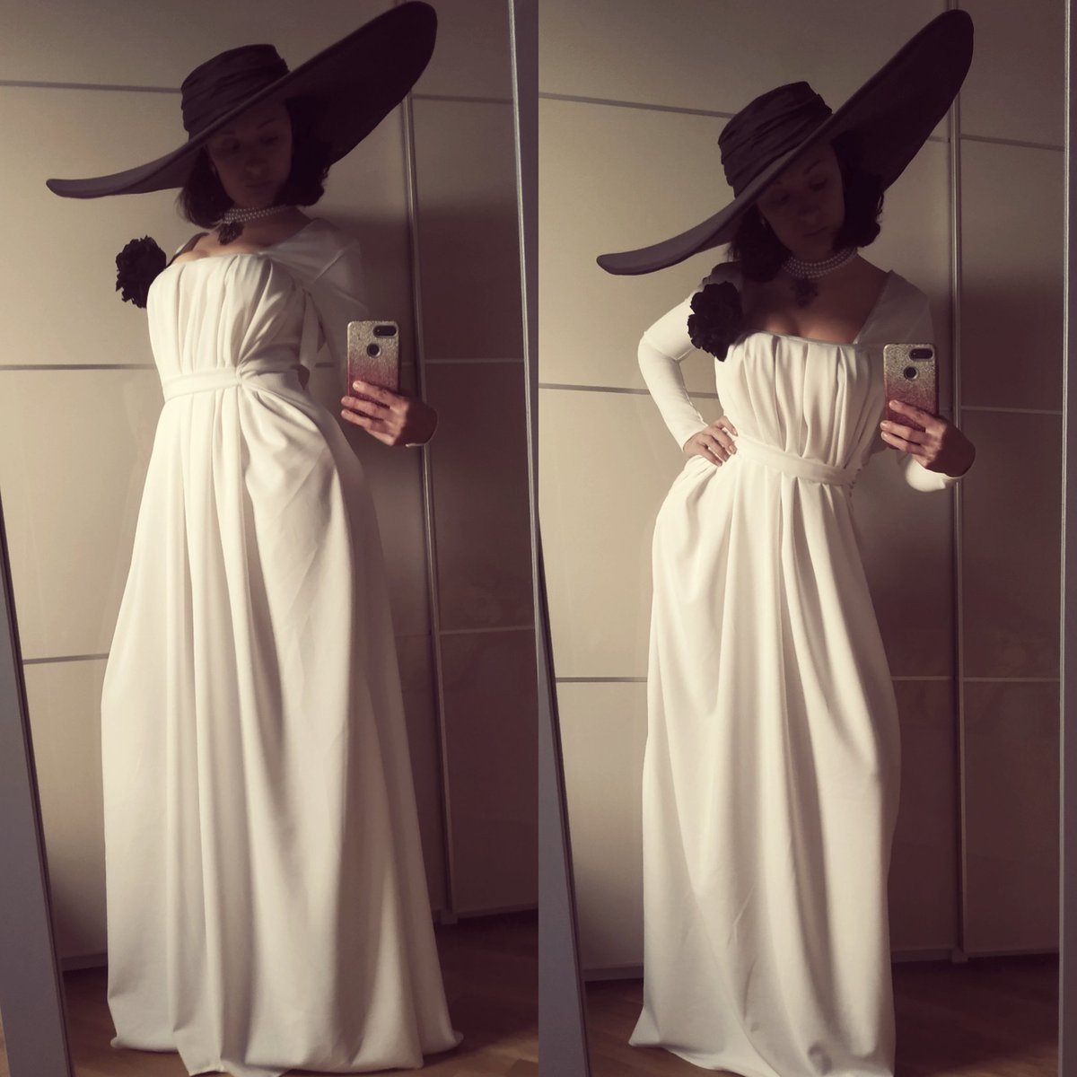 Lady Dimitrescu is almost done! It's exteremely windy today, and can't weather the dress because I'm afraid it will fly out of my 11 floor balcony 😅 2 days till game premiere! @CenegaPolska @RE_Games @CapcomEurope #LadyDimitrescu #ResidentEvilVillage #ResidentEvil8 #cosplay https://t.co/jtN7LB4yaJ
