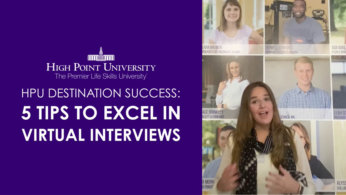 As the semester comes to an end, and you're applying for internships and jobs, check out these 5️⃣ tips to excel in virtual interviews. HPU junior and Peer Career Advisor Meredith Haddock is here with key insights! 💻🙌 #HPU365 #DestinationSuccess