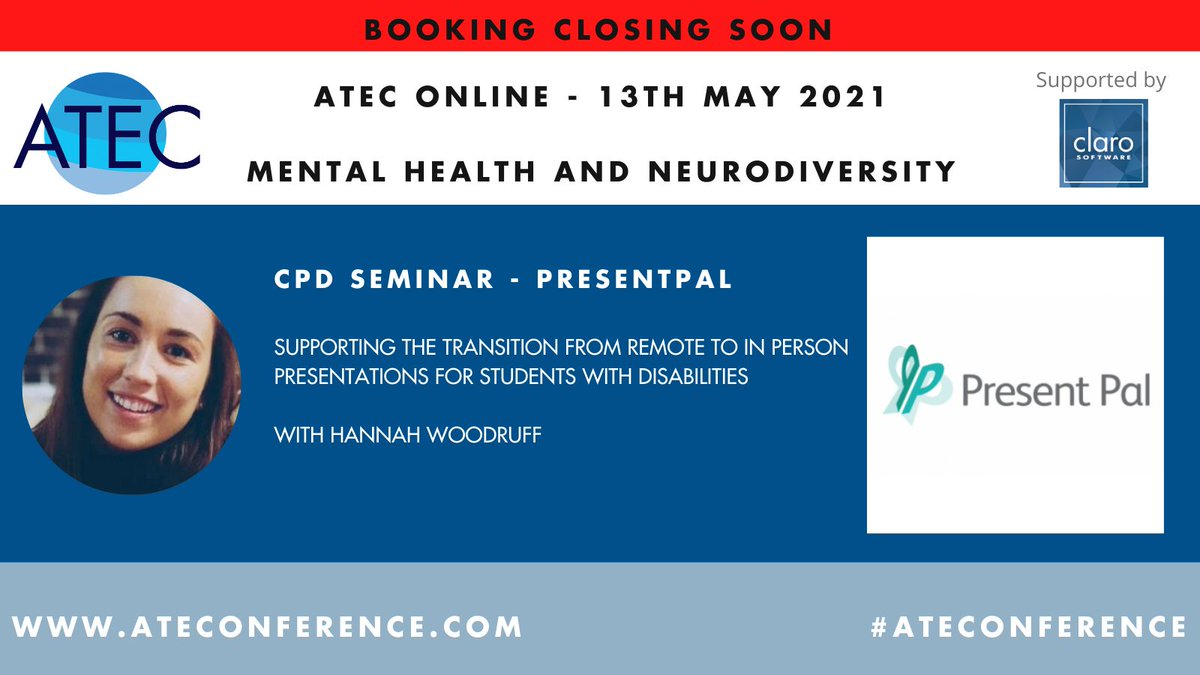 We are so excited to attend the #ATEC conference! 🥳 Our very own Head of Training Hannah Woodruff will be discussing the transition from remote to in-person presentations so be sure to join in! 🌟 #DSA #AT #NeedsAssessors #ATTrainers