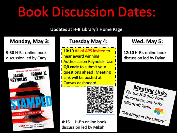 Student leaders Micah & Dylan lead <a target='_blank' href='http://twitter.com/HBWProgram'>@HBWProgram</a>  today & tomorrow to continue discussions of STAMPED by award-winning <a target='_blank' href='http://twitter.com/JasonReynolds83'>@JasonReynolds83</a> & <a target='_blank' href='http://twitter.com/DrIbram'>@DrIbram</a>. Thanks authors, Cady, & <a target='_blank' href='http://twitter.com/APSLibraries'>@APSLibraries</a>, too! APS Resources: <a target='_blank' href='https://t.co/C5vq4BWvTq'>https://t.co/C5vq4BWvTq</a>  <a target='_blank' href='http://search.twitter.com/search?q=loveHB'><a target='_blank' href='https://twitter.com/hashtag/loveHB?src=hash'>#loveHB</a></a> <a target='_blank' href='http://twitter.com/Nekya_HB'>@Nekya_HB</a> <a target='_blank' href='http://twitter.com/APS_OEE'>@APS_OEE</a> <a target='_blank' href='https://t.co/mfORbJiB1L'>https://t.co/mfORbJiB1L</a>